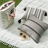 """18"""" x 18"""" Double Stripe Indoor/Outdoor Throw Pillow Black/Gray - Hearth & Hand™ with Magnolia - image 2 of 4"""