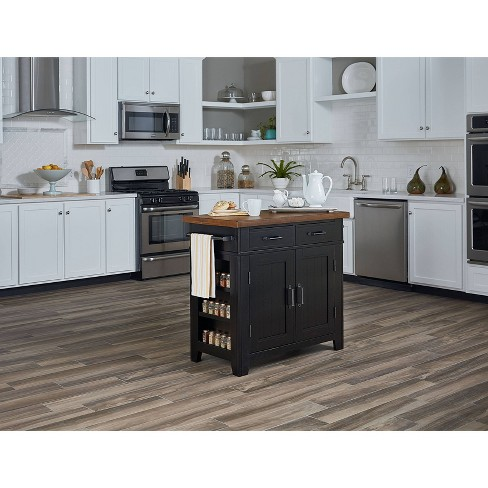 Urban Farmhouse Kitchen Island With Solid Wood Finished Top Black - OSP  Home Furnishings
