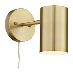 360 Lighting Modern Wall Lamp Polished Brass Plug-In Light Fixture Adjustable Cylinder Down Shade for Bedroom Living Room Reading