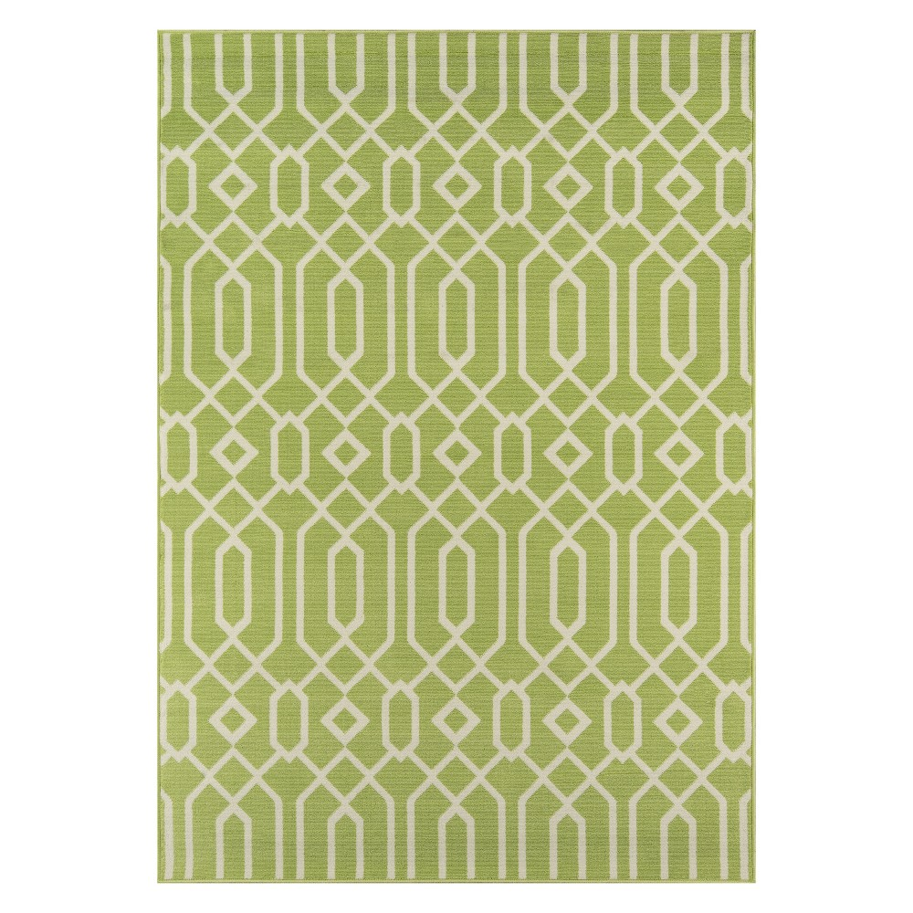 "Image of ""1'8""""X3'7"""" Geometric Loomed Accent Rug Green - Momeni"""