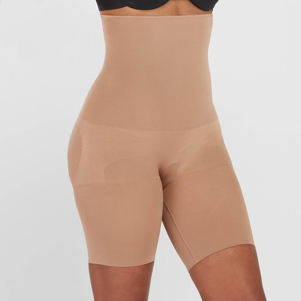 Assets By Spanx Women 39 S Remarkable Results High Waist Midthigh Thigh Shapers Caf 233 Au Lait Xl