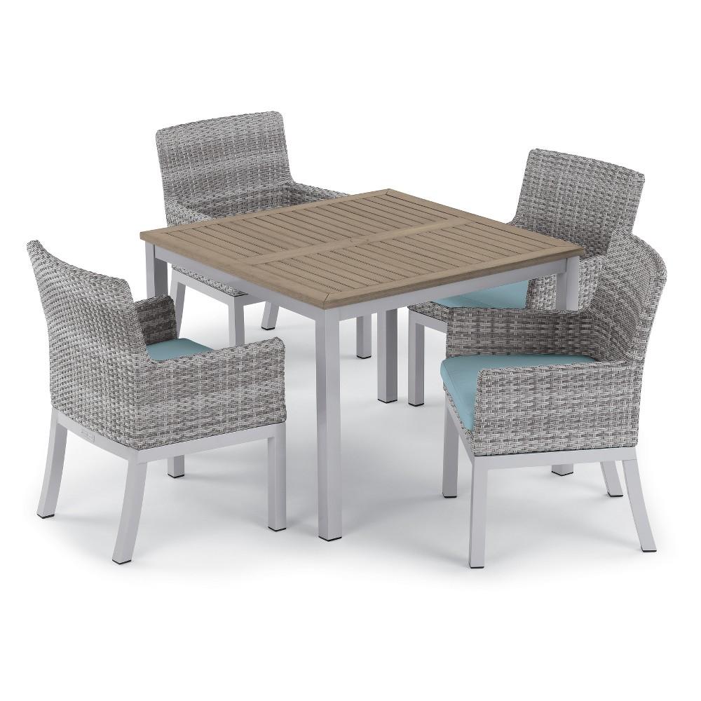 5pc Travira 39 Dining Table & Argento Armchair Set Ice Blue - Oxford Garden