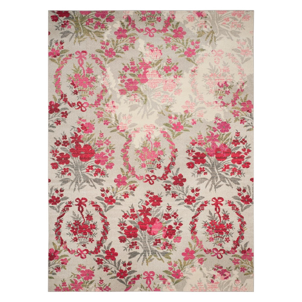 8'X10' Floral Area Rug Ivory/Pink - Safavieh, White
