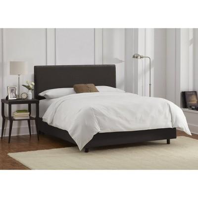 Full Arcadia Nailbutton Linen Upholstered Bed Linen Charcoal - Skyline Furniture, Linen Grey