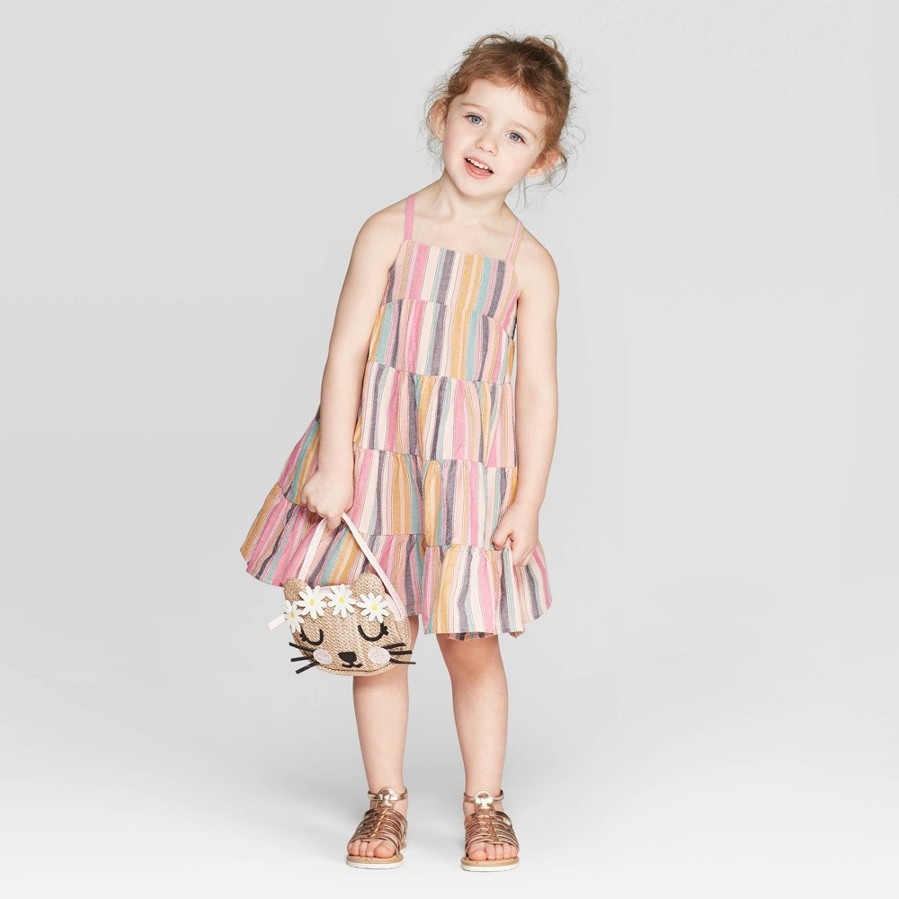 6277f98a Toddler Girls A Line Dress Cat Jack 18M Multicolored