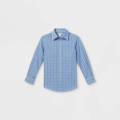 Boys' Checked Long Sleeve Button-Down Shirt - Cat & Jack™ Blue