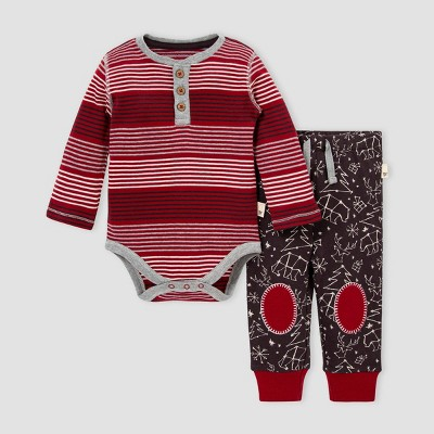 Burt's Bees Baby® Baby Boys' Organic Cotton 'Holiday in the Stars' Bodysuit and Pants Set - Pink 12M
