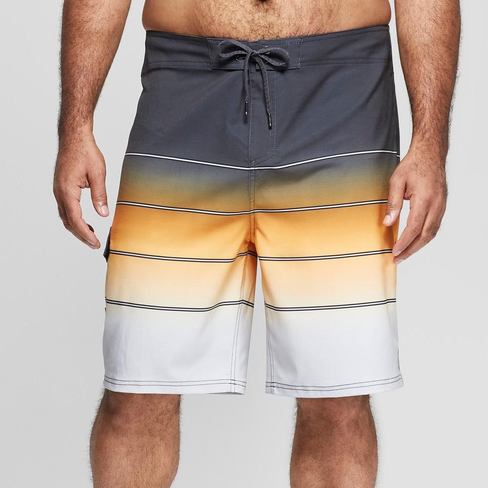 Men's Big & Tall 10 Striped Broken Fade Board Shorts - Goodfellow & Co Yellow 48