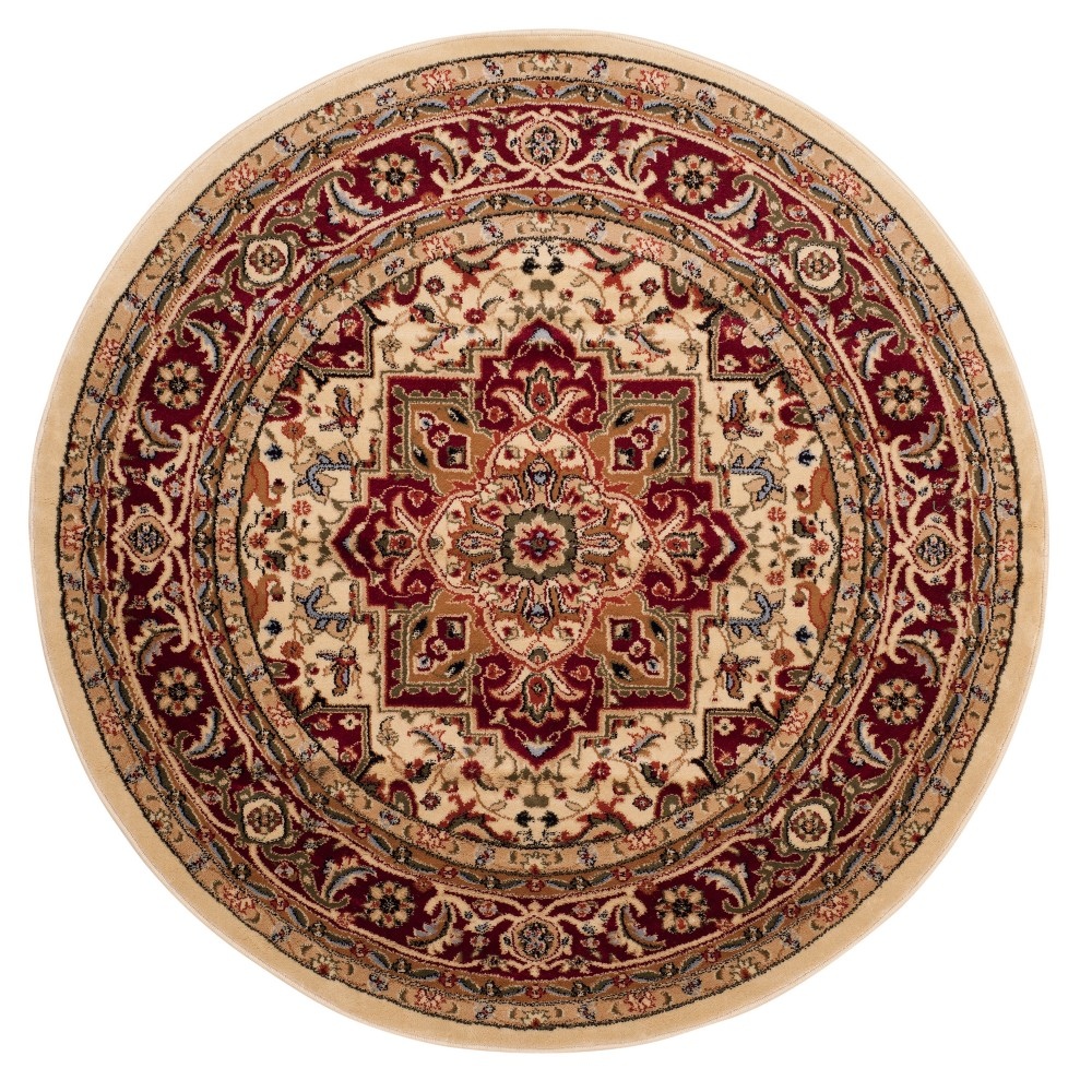 Ivory/Red Floral Loomed Round Area Rug 5'3 - Safavieh