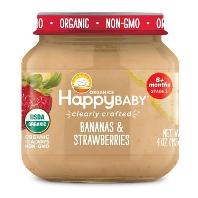 HappyBaby Banana & Strawberries Baby Food - 4oz