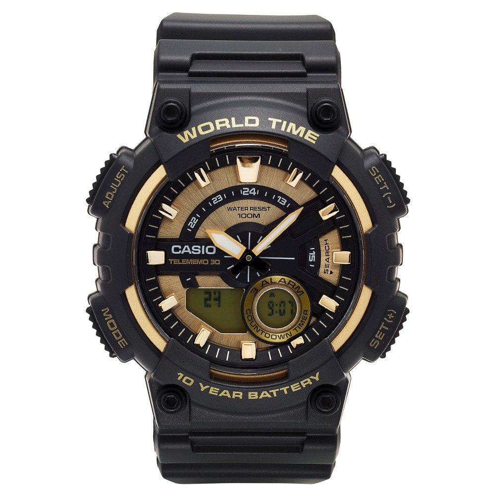 Image of Casio Men's Ana-Digi Watch, Black/Gold - AEQ110BW-9AVCF, Size: Small, Gold Black