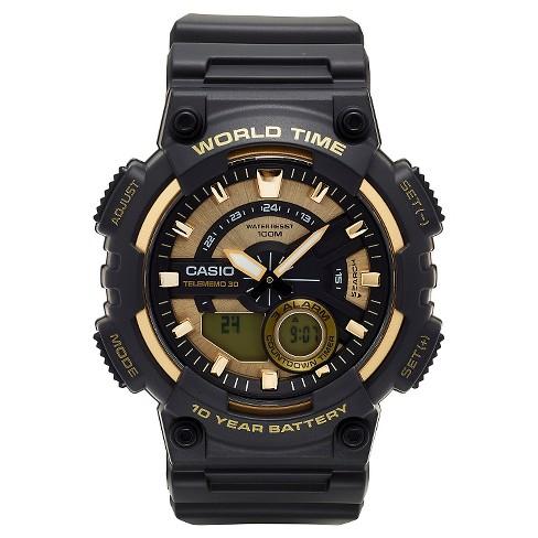 Casio Men's Ana-Digi Watch, Black/Gold - AEQ110BW-9AVCF - image 1 of 1