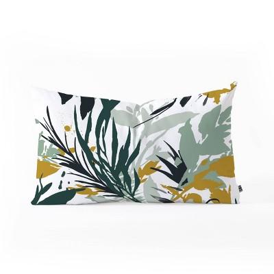 Marta Barragan Camarasa Botanical Brushstrokes Oblong Lumbar Throw Pillow Green - Deny Designs