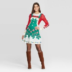 Women's Long Sleeve Candycane Ugly Holiday A-Line Mini Dress - Born Famous (Juniors') - Green