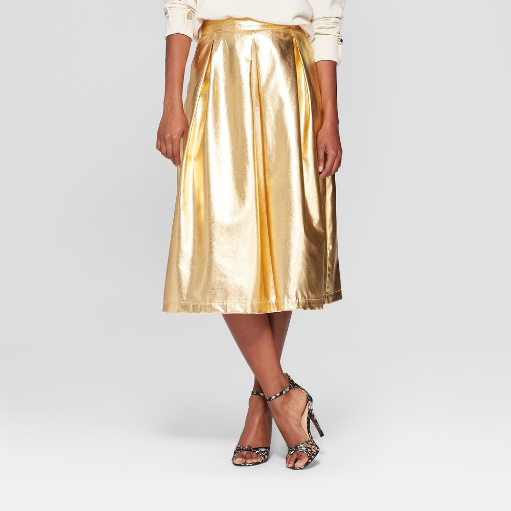 Women's Birdcage Midi Skirt - Who What Wear Gold 16, Yellow