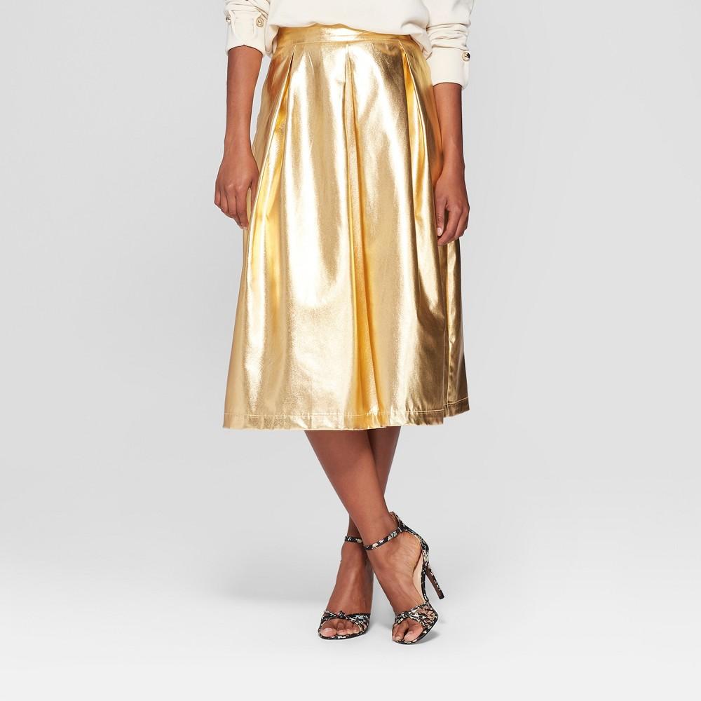 Women's Birdcage Midi Skirt - Who What Wear Gold 10, Yellow