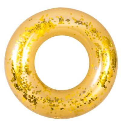 "Pool Central 41.5"" Gold Glitter Sequin Inflatable Inner Tube Pool Float"