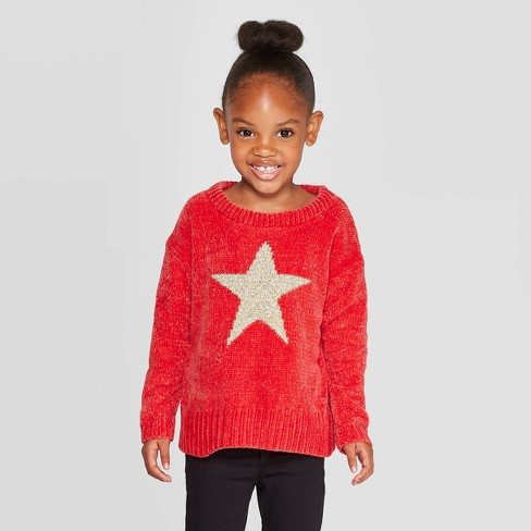 Toddler Girls' Long Sleeve 'Star' Pullover - Cat & Jack™ Red - image 1 of 3