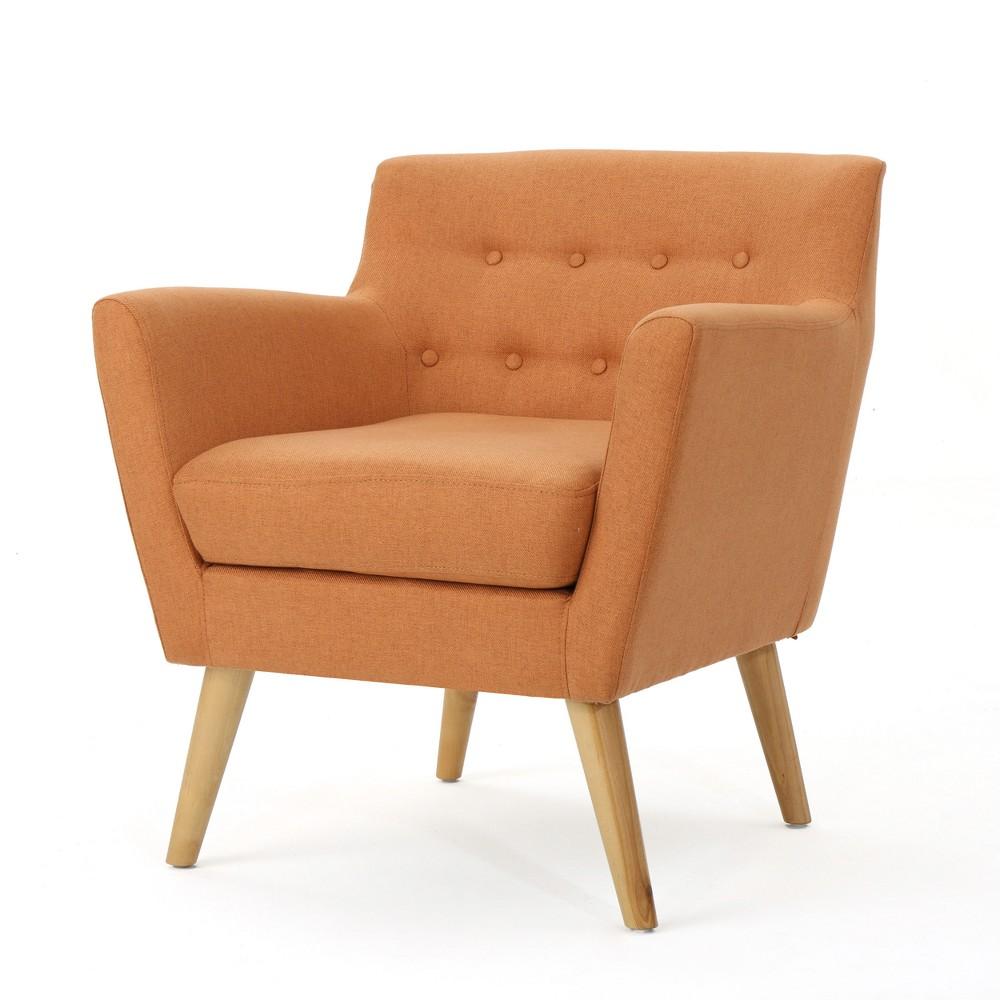 Meena Buttoned Mid-Century Club Chair - Orange - Christopher Knight Home