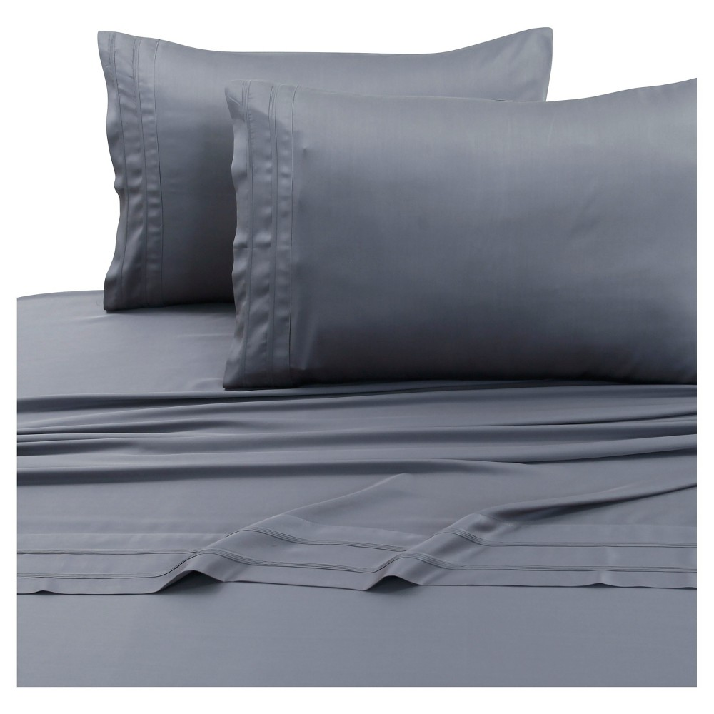 Rayon From Bamboo Deep Pocket Solid Sheet Set California King Steel Gray 300 Thread Count Tribeca Living