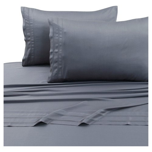 Rayon from Bamboo Deep Pocket Solid Sheet Set (Twin Extra Long) Steel Gray 300 Thread Count - Tribeca Living