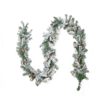 """Northlight 9' x 8"""" Pre-lit Flocked Victoria Pine Artificial Christmas Garland - Clear Lights"""