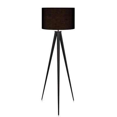 "60"" Romanza Tripod Floor Lamp with Black Shade - Versanora"