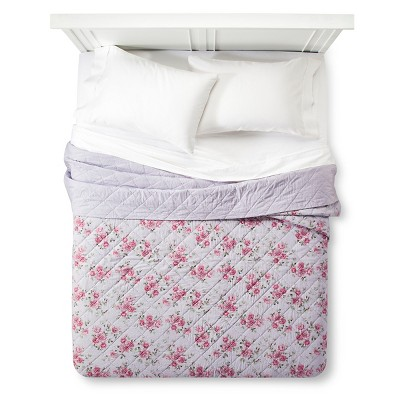 Purple Berry Rose Linen Blend Quilt (Twin) - Simply Shabby Chic™