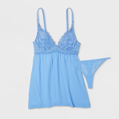 Women's Underwire Lace Chiffon Babydoll Set - Gilligan & O'Malley™ Summer Blue XL