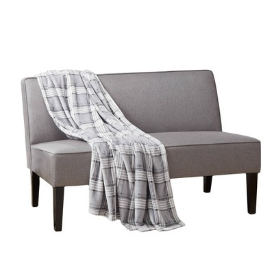 "50""x60"" Plaid Throw Furniture Protector Gray - Sure Fit"