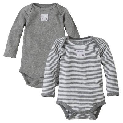 Burt's Bees Baby™ Newborn Bee Essentials 2 Pack Long Sleeve Bodysuits - Heather Gray 0-3M