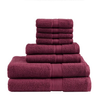 8pc Cotton Bath Towel Set Burgundy