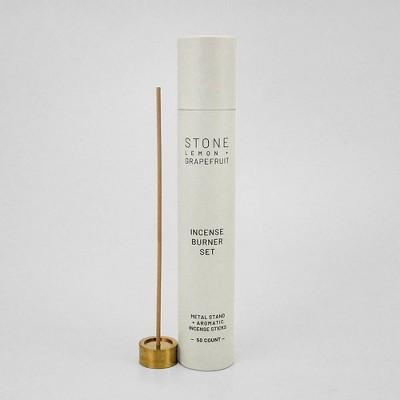 50ct Incense Burner Set Stone - Lemon & Grapefruit - Project 62™