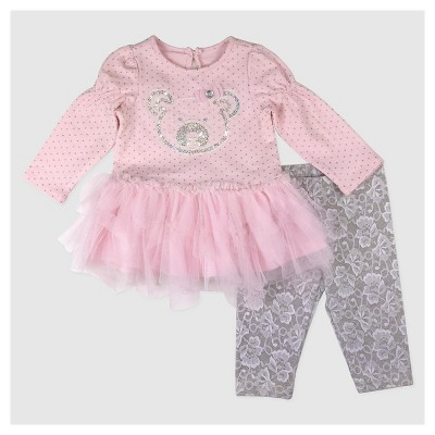 Baby Grand Signature Baby Girls' Panda Face Glitter Dress - Pink 3-6M