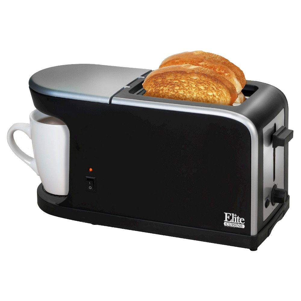 Multi-function Toaster Elite Cuisine, Black The Multi-Function Breakfast Station by Elite Cuisine is perfect for busy, on-the-go mornings. Its space-saving design makes it perfect for dorm rooms, RVs, small apartments or as a stylish addition to any home kitchen. It's your one stop breakfast spot you won't forget to miss as you race out the door each morning. Color: Black.