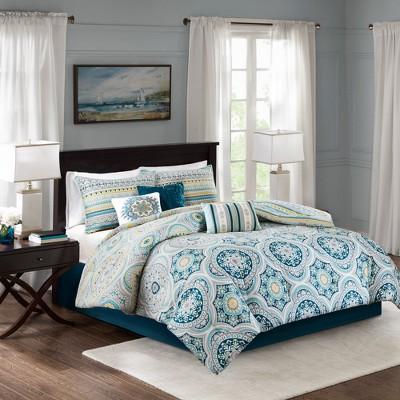 Navy Corynn Reversible Comforter Set Queen 7pc