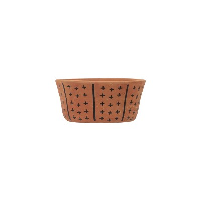 Natural Terracotta with Black Hand Painted Pattern Planter - Foreside Home & Garden