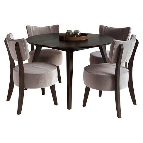 5 Piece Round Stained Wood Dining Set Cuccino And Gray Corliving