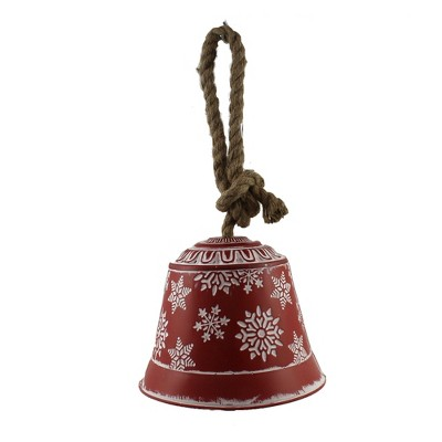 "Christmas 6.5"" Snowflake Bell 6.5 Inches Jute Hanger Metal  -  Decorative Figurines"