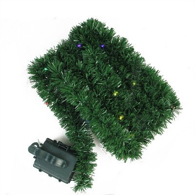 """Brite Star 18' x 2.5"""" Pre-Lit Battery Operated Pine Artificial Christmas Garland - Multicolor LED Lights"""