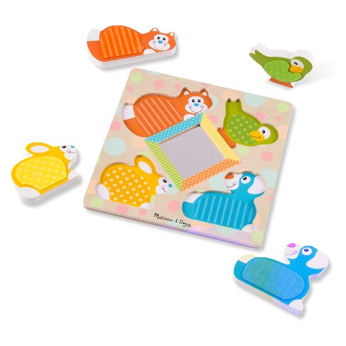 Melissa & Doug First Play Touch & Feel Puzzle Peek-a-boo Pets - 4pc - image 1 of 5