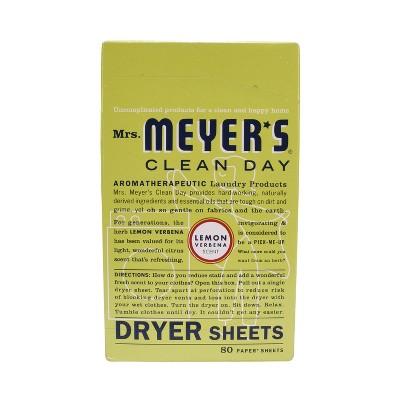 Mrs. Meyer's Clean Day Dryer Sheets, Lemon Verbena, 80ct