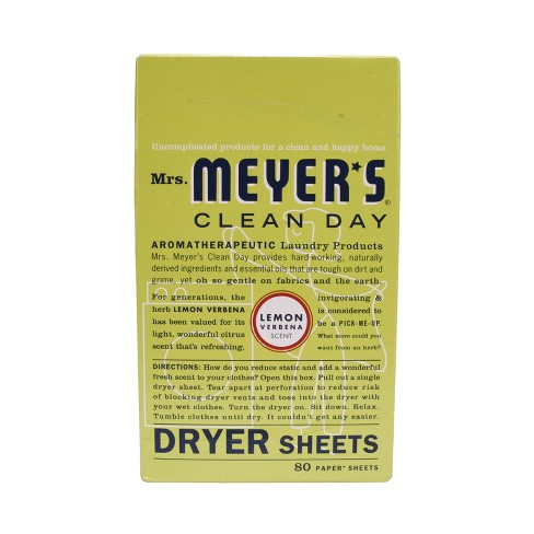 Mrs. Meyer's Clean Day Dryer Sheets, Lemon Verbena, 80ct - image 1 of 4