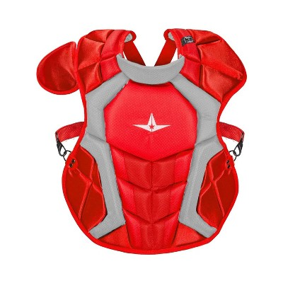 All-Star Sports S7 SEI Certified 16.5 Inch Axis Adult Baseball Softball Catcher Chest Protector with Shoulder and Throat Molded PE Plates, Scarlet