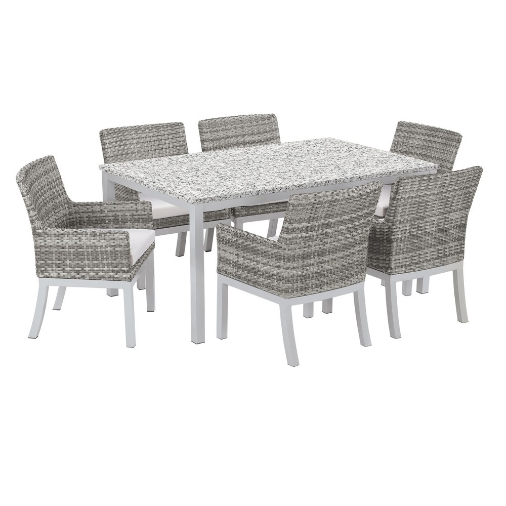 Travira 7pc Argento Wicker and Ash Tabletop Patio Dining Set with 63