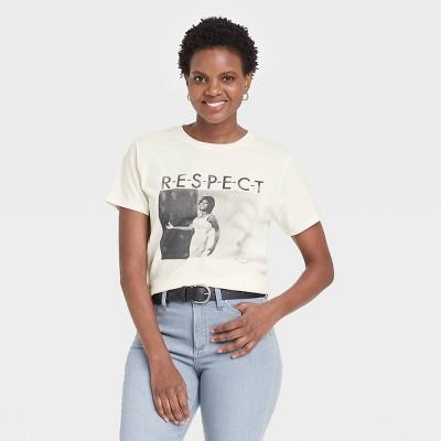 Women's Aretha Franklin R-E-S-P-E-C-T Short Sleeve Graphic T-Shirt - White