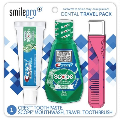 Crest Smile Pro Travel Dental Pack with Mouthwash and Toothpaste
