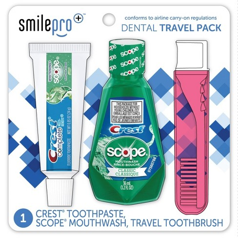 Crest Smile Pro Travel Dental Pack with Mouthwash and Toothpaste - Trial Size - 3ct - image 1 of 4