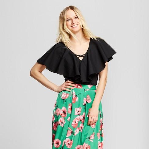 Women's Poplin Mix V-Neck T-Shirt - Who What Wear™ Black XL - image 1 of 3