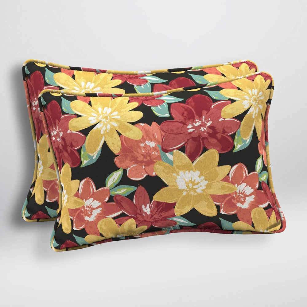 Image of 2pk Abella Floral Oversized Outdoor Lumbar Pillows Ruby - Arden Selections, Red
